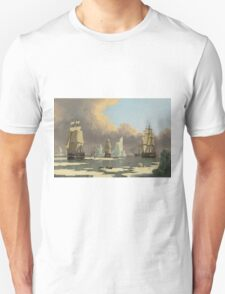 John Ward I - The Northern Whale Fishery The Swan And Isabella . Marine landscape: ship portraits, yachts, yachting ship, waves, marine naval navy, seascape, sun and clouds, nautical panorama, ocean Unisex T-Shirt