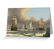John Ward I - The Northern Whale Fishery The Swan And Isabella . Marine landscape: ship portraits, yachts, yachting ship, waves, marine naval navy, seascape, sun and clouds, nautical panorama, ocean Greeting Card