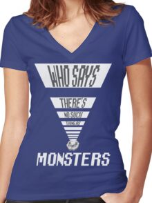 Who says- Digimon Women's Fitted V-Neck T-Shirt