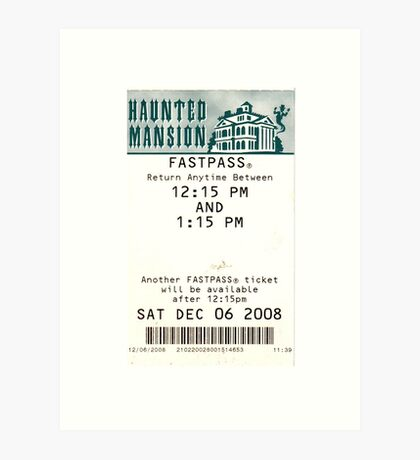 Haunted Mansion Fastpass Art Print