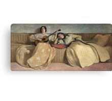 John White Alexander - Panel For Music Room. Woman portrait: sensual woman, girly art, female style, pretty women, femine, beautiful dress, cute, creativity, love, sexy lady, erotic pose Canvas Print
