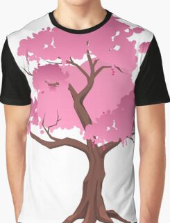 Pink Japanese Tree Graphic T-Shirt