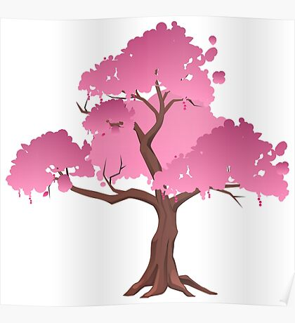 Pink Japanese Tree Poster