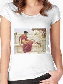 John William Godward - The Favourite. Woman portrait: sensual woman, girly art, female style, pretty women, femine, beautiful dress, cute, creativity, love, sexy lady, erotic pose Women's Fitted Scoop T-Shirt