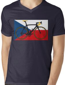 Bike Flag Czech Republic (Big - Highlight) Mens V-Neck T-Shirt
