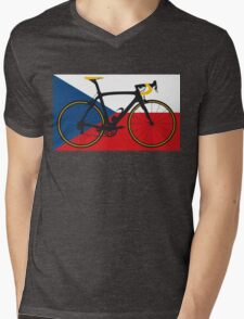 Bike Flag Czech Republic (Big - Highlight) Mens V-Neck T-Shirt