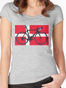 Bike Flag Denmark (Big - Highlight) Women's Fitted Scoop T-Shirt