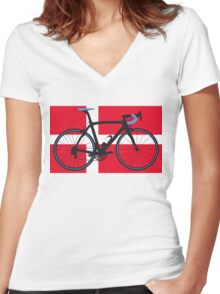 Bike Flag Denmark (Big - Highlight) Women's Fitted V-Neck T-Shirt