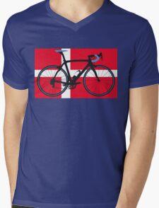 Bike Flag Denmark (Big - Highlight) Mens V-Neck T-Shirt