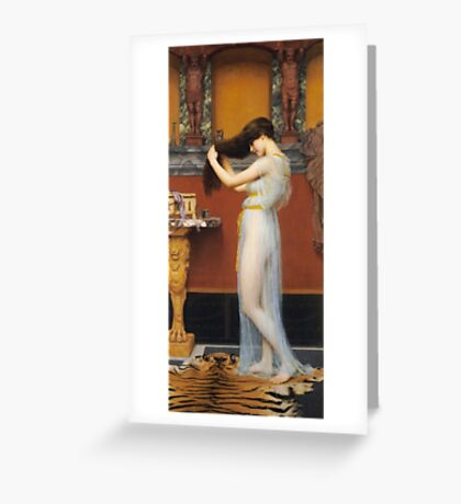 John William Godward - The Toilet. Woman portrait: sensual woman, girly art, female style, pretty women, femine, beautiful dress, cute, creativity, love, sexy lady, erotic pose Greeting Card