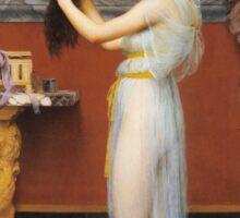 John William Godward - The Toilet. Woman portrait: sensual woman, girly art, female style, pretty women, femine, beautiful dress, cute, creativity, love, sexy lady, erotic pose Sticker