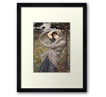 John William Waterhouse - Boreas . Woman portrait: sensual woman, girly art, female style, pretty women, femine, beautiful dress, cute, creativity, love, sexy lady, erotic pose Framed Print