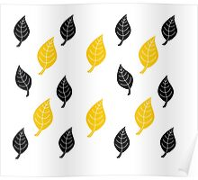 Black and Yellow Leaf Pattern Poster