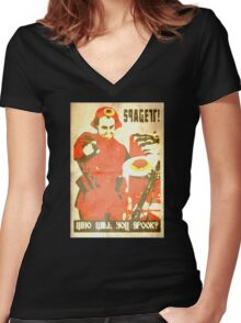 Spagett; Who will you spook? Women's Fitted V-Neck T-Shirt