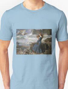 John William Waterhouse - Miranda - The Tempest  . Sea landscape: sea view, naval yachts, navy holiday, sailing boat, coast seaside, beach, marin, seascape, sun clouds, nautical panorama, ocean Unisex T-Shirt