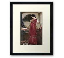 John William Waterhouse - The Crystal Ball . Woman portrait: sensual woman, girly art, female style, pretty women, femine, beautiful dress, cute, creativity, love, sexy lady, erotic pose Framed Print