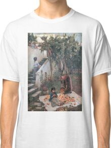 John William Waterhouse - The Orange Gatherers . Garden landscape: garden view, trees and flowers, blossom, nature, botanical park, floral flora, wonderful flowers, plants, cute plant, garden, flower Classic T-Shirt