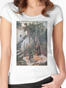 John William Waterhouse - The Orange Gatherers . Garden landscape: garden view, trees and flowers, blossom, nature, botanical park, floral flora, wonderful flowers, plants, cute plant, garden, flower Women's Fitted Scoop T-Shirt