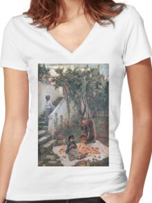 John William Waterhouse - The Orange Gatherers . Garden landscape: garden view, trees and flowers, blossom, nature, botanical park, floral flora, wonderful flowers, plants, cute plant, garden, flower Women's Fitted V-Neck T-Shirt