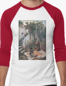 John William Waterhouse - The Orange Gatherers . Garden landscape: garden view, trees and flowers, blossom, nature, botanical park, floral flora, wonderful flowers, plants, cute plant, garden, flower Men's Baseball ¾ T-Shirt