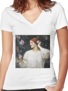John William Waterhouse - Vanity.  Woman portrait: sensual woman, girly art, female style, pretty women, femine, beautiful dress Women's Fitted V-Neck T-Shirt