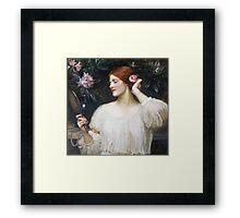 John William Waterhouse - Vanity.  Woman portrait: sensual woman, girly art, female style, pretty women, femine, beautiful dress Framed Print