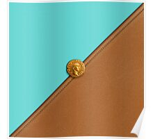 The Blue Linen and Brown Leather With Caesar Coin Poster