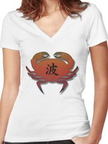 Japanese, Crab design  Women's Fitted V-Neck T-Shirt