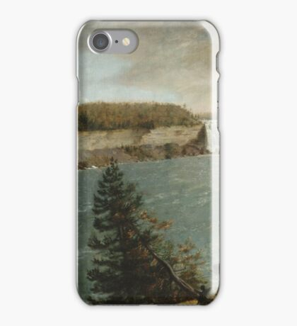 John Vanderlyn - A Distant View Of The Falls Of Niagara. Lake landscape: trees, river, land, forest, coast seaside, waves and beach, marine, lagoon sun and clouds, nautical panorama, lake iPhone Case/Skin