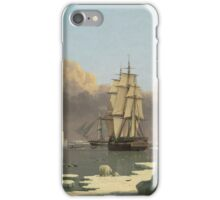 John Ward I - The Northern Whale Fishery The Swan And Isabella . Marine landscape: ship portraits, yachts, yachting ship, waves, marine naval navy, seascape, sun and clouds, nautical panorama, ocean iPhone Case/Skin