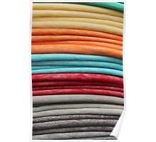 Stacked Colorful Blankets at the Market Poster