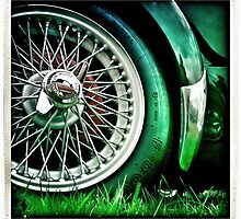 Green and Chrome Vintage car Wheel by kipperklock
