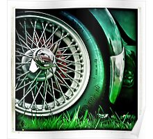 Green and Chrome Vintage car Wheel Poster