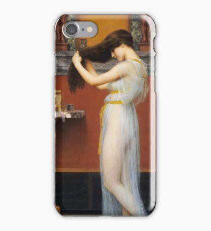 John William Godward - The Toilet. Woman portrait: sensual woman, girly art, female style, pretty women, femine, beautiful dress, cute, creativity, love, sexy lady, erotic pose iPhone Case/Skin