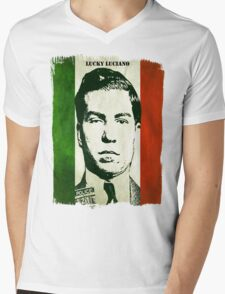 Lucky Luciano Italy Flag Mens V-Neck T-Shirt