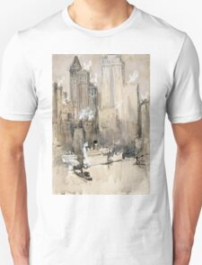 Joseph Pennell - Fruit Boat, Or New York City From Our Brooklyn Flat. Urban landscape:  New York view, streets, building,  New York, trees, cityscape, architecture, construction, buildings Unisex T-Shirt