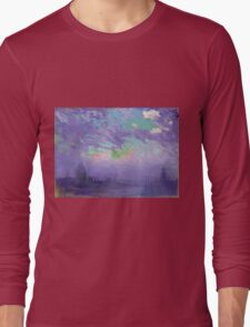 Joseph Pennell - Green, Blue And Purple (London View). Urban landscape: city view, streets, building, View Of London, trees, cityscape, architecture, construction, travel, panorama garden, buildings Long Sleeve T-Shirt