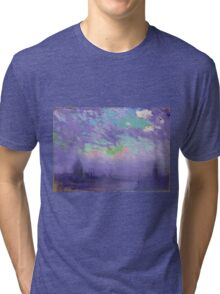 Joseph Pennell - Green, Blue And Purple (London View). Urban landscape: city view, streets, building, View Of London, trees, cityscape, architecture, construction, travel, panorama garden, buildings Tri-blend T-Shirt
