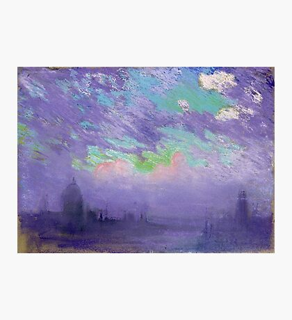 Joseph Pennell - Green, Blue And Purple (London View). Urban landscape: city view, streets, building, View Of London, trees, cityscape, architecture, construction, travel, panorama garden, buildings Photographic Print
