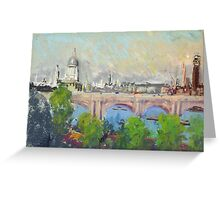 Joseph Pennell - London Over Waterloo Bridge. Urban landscape: city view, streets, building, London, trees, cityscape, architecture, construction, travel landmarks, panorama garden, buildings Greeting Card