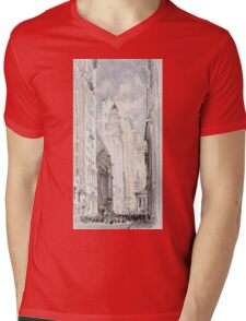 Joseph Pennell - The New York Stock Exchange. Urban landscape: city view, streets, building, house, trees, cityscape, architecture, construction, travel landmarks, panorama garden, buildings Mens V-Neck T-Shirt