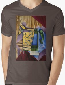 Juan Gris - Backgammon. Abstract painting: abstract art, geometric, expressionism, composition, lines, forms, creative fusion, spot, shape, illusion, fantasy future Mens V-Neck T-Shirt
