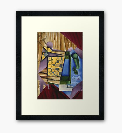 Juan Gris - Backgammon. Abstract painting: abstract art, geometric, expressionism, composition, lines, forms, creative fusion, spot, shape, illusion, fantasy future Framed Print