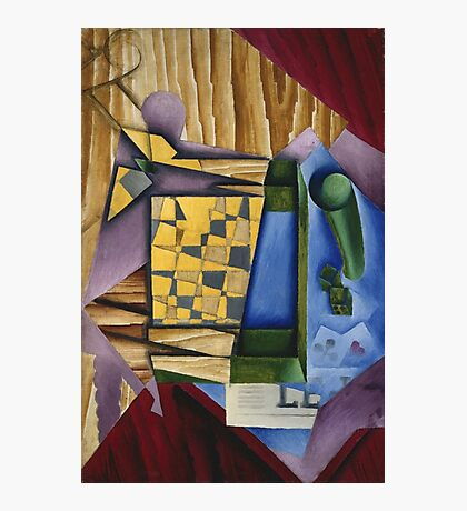 Juan Gris - Backgammon. Abstract painting: abstract art, geometric, expressionism, composition, lines, forms, creative fusion, spot, shape, illusion, fantasy future Photographic Print