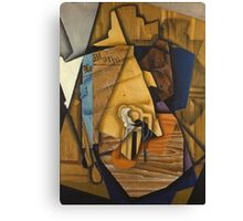 Juan Gris - Man At The Cafe. Abstract painting: abstract art, geometric, expressionism, composition, lines, forms, creative fusion, spot, shape, illusion, fantasy future Canvas Print