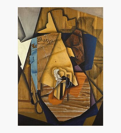 Juan Gris - Man At The Cafe. Abstract painting: abstract art, geometric, expressionism, composition, lines, forms, creative fusion, spot, shape, illusion, fantasy future Photographic Print