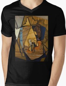 Juan Gris - Man At The Cafe. Abstract painting: abstract art, geometric, expressionism, composition, lines, forms, creative fusion, spot, shape, illusion, fantasy future Mens V-Neck T-Shirt
