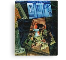 Juan Gris - Still Life Before An Open Window, Place Ravignan. Abstract painting: art, geometric, expressionism, composition, lines, forms, creative fusion, spot, shape, illusion, fantasy future Canvas Print