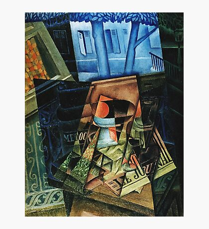 Juan Gris - Still Life Before An Open Window, Place Ravignan. Abstract painting: art, geometric, expressionism, composition, lines, forms, creative fusion, spot, shape, illusion, fantasy future Photographic Print