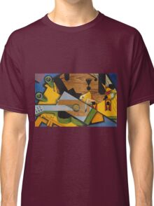 Juan Gris - Still Life With A Guitar. Abstract painting: abstract art, geometric,  Guitar, composition, lines, forms, creative fusion, spot, shape, illusion, fantasy future Classic T-Shirt